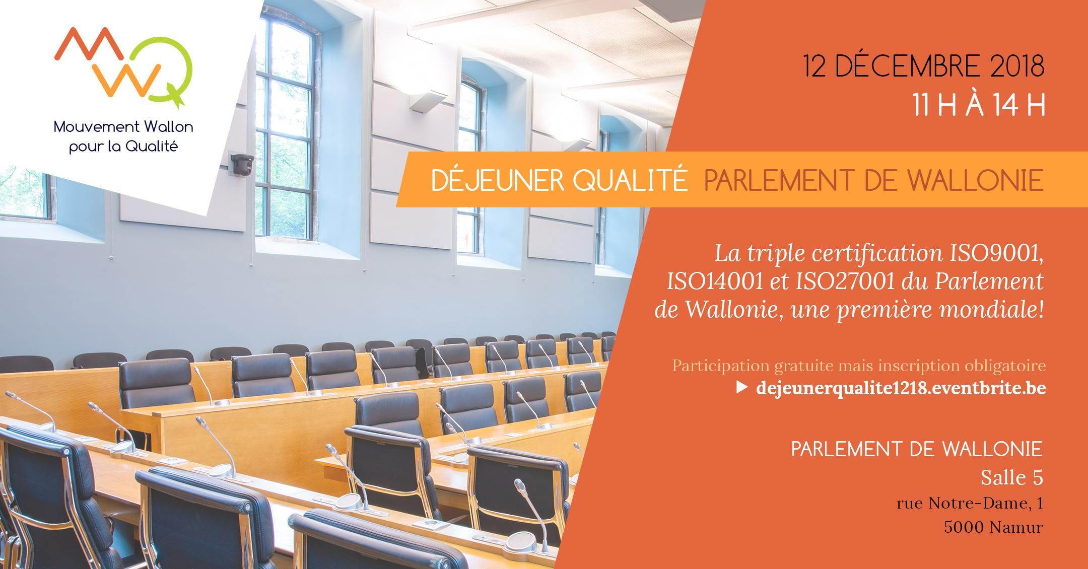 Déjeuner Qualité: Parlement de Wallonie