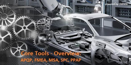 Core Tools - Overview: APQP, FMEA, MSA, SPC, PPAP Training, 5 days, english tickets