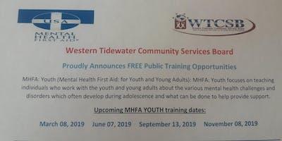 Youth Mental Health First Aid (Western Tidewater CSB)
