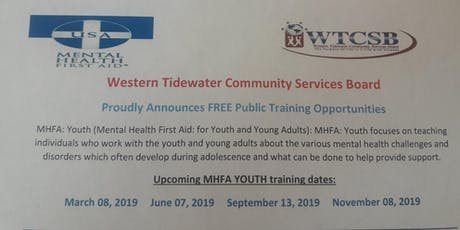 Youth Mental Health First Aid (Western Tidewater CSB) tickets