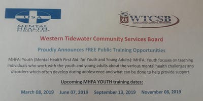 Youth Mental Health First Aid (Western Tidewater CSB)