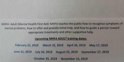 Adult Mental Health First Aid  (Western Tidewater CSB)