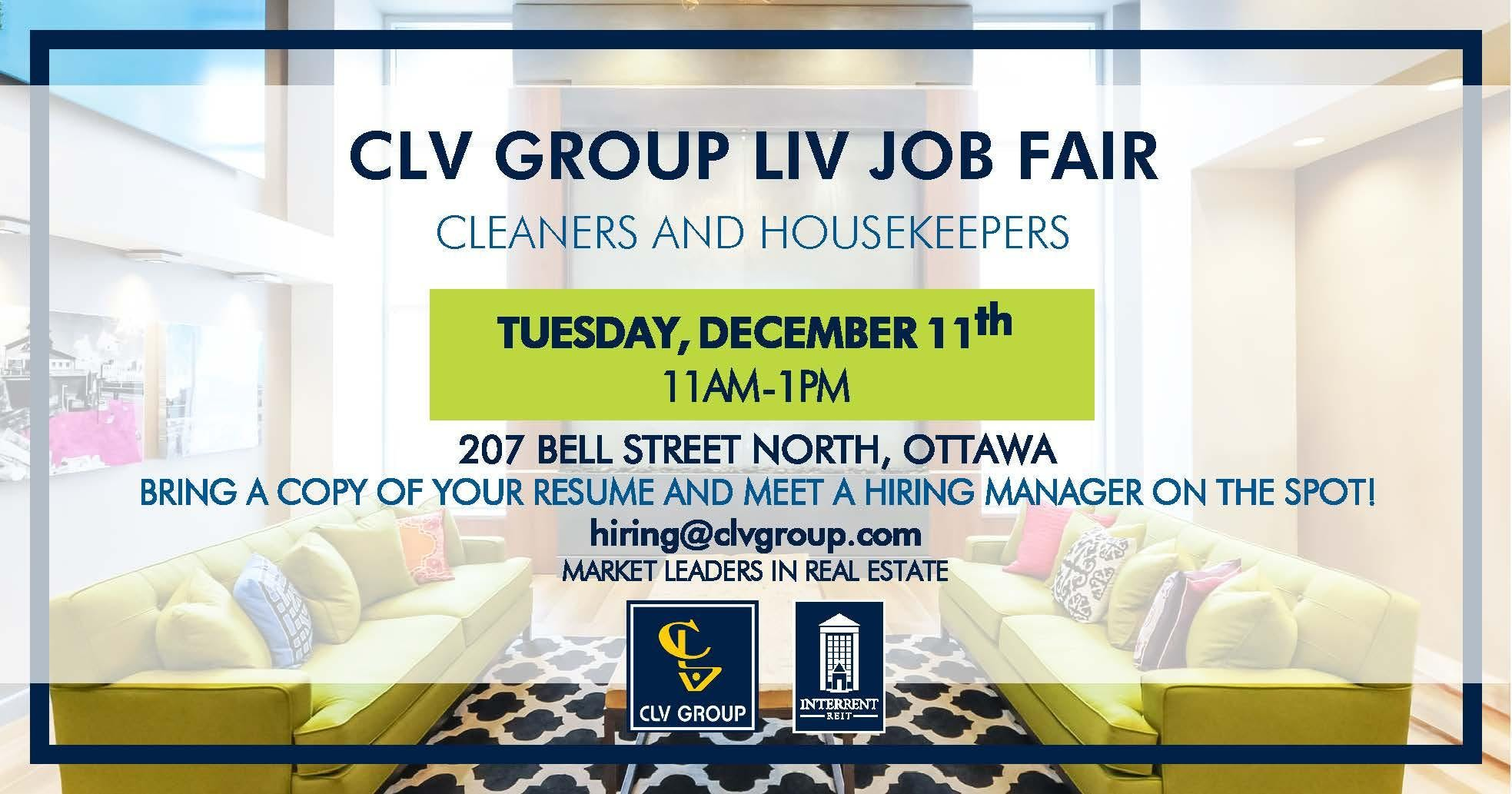 CLV Group LIV Job Fair - Cleaners and Housekeepers