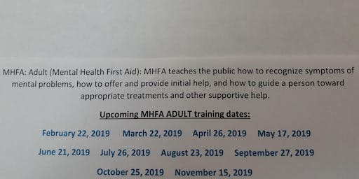 Adult Mental Health First Aid  (Western Tidewater CSB)
