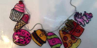Shrinky Art Bag Charms & Necklaces
