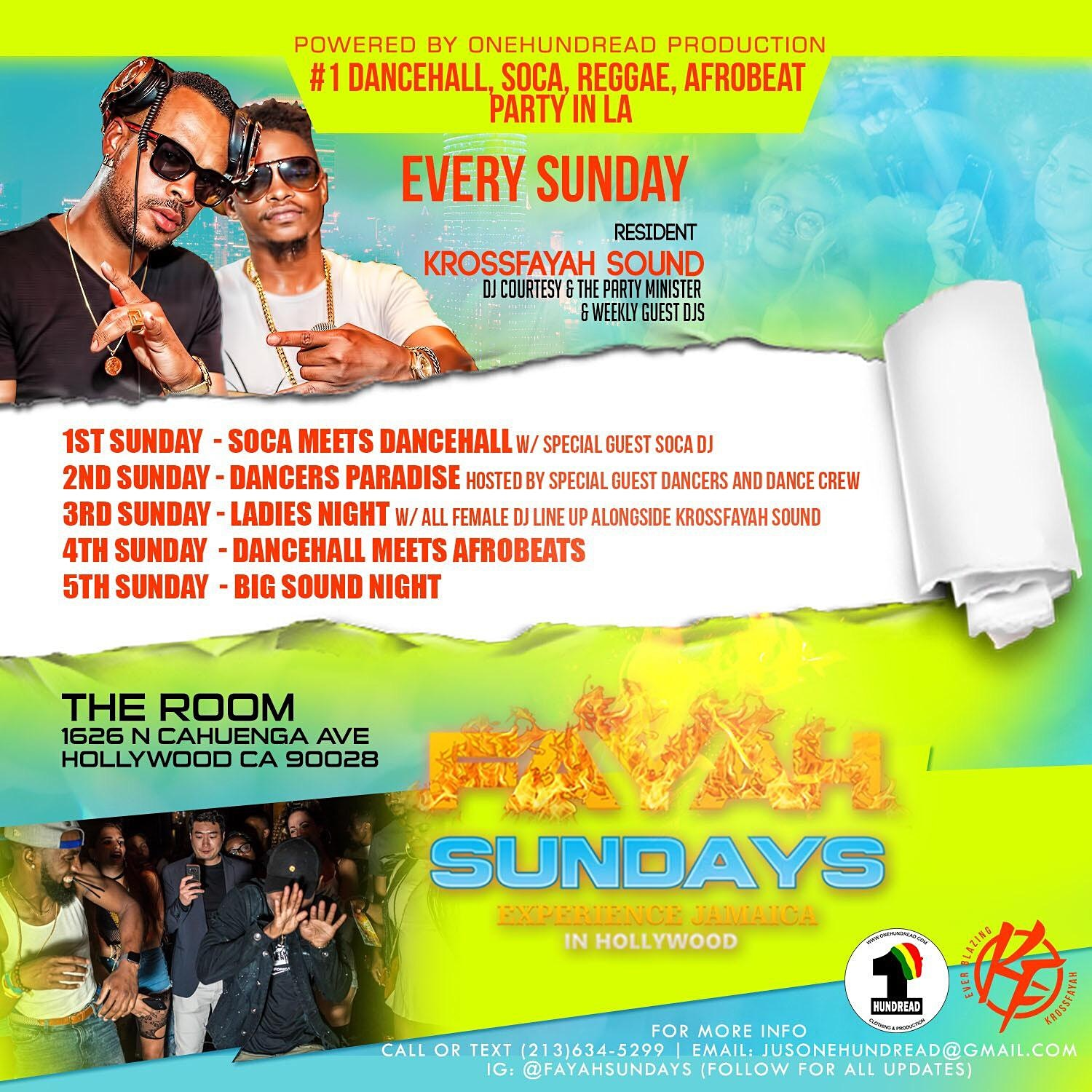 FAYAH SUNDAYS - NO.1 DANCEHALL REGGAE SOCA PARTY IN HOLLYWOOD LOS ANGELES