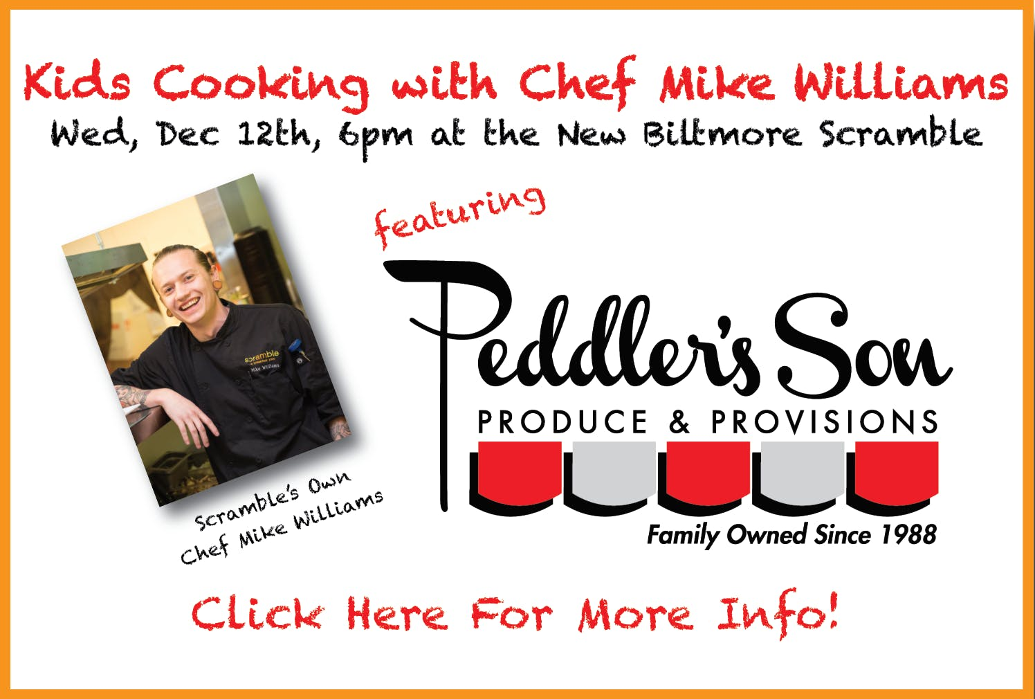 December 2018 Scramble Kid's Cooking Class with Chef Mike Williams
