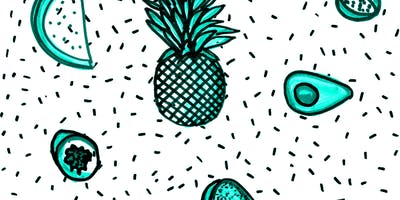 Collaborative risograph zine — Exotic fruits & inventions