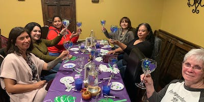 Wine Glass Painting Class at Vitality Bowls