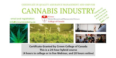 Crown Certificate in Quality Assurance Mgmt & GMP for the Cannabis Industry