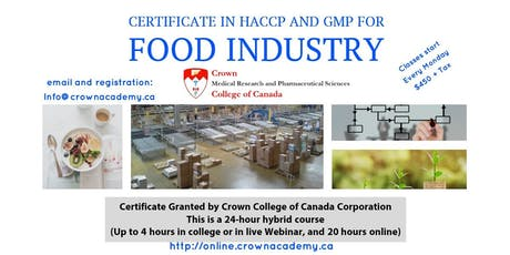 Crown College Certificate in HACCP and GMP for the Food Industry tickets