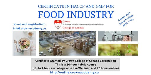 Crown College Certificate in HACCP and GMP for the Food Industry