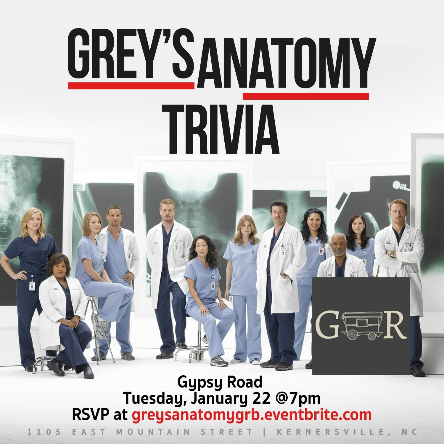 Greys Anatomy Trivia at Gypsy Road Brewing Company | Kernersville
