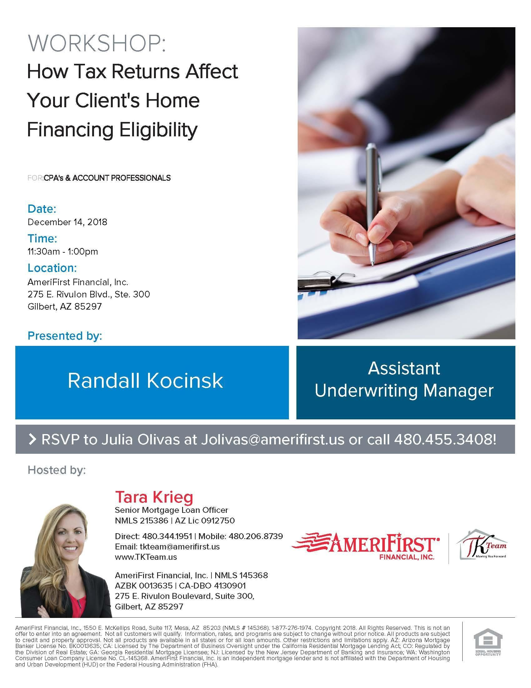 CPA Workshop Hosted by Assistant Underwriting