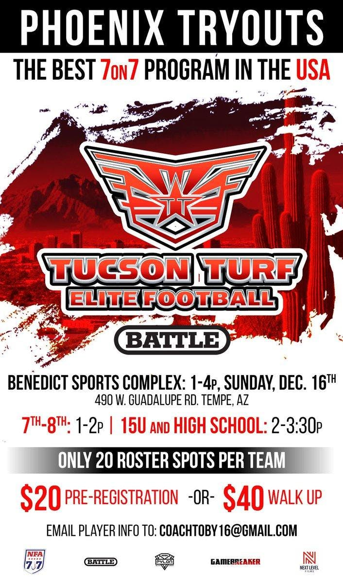 PHOENIX TRYOUTS FOR TUCSON TURF ELITE FOOTBALL - 7on7 TEAMS