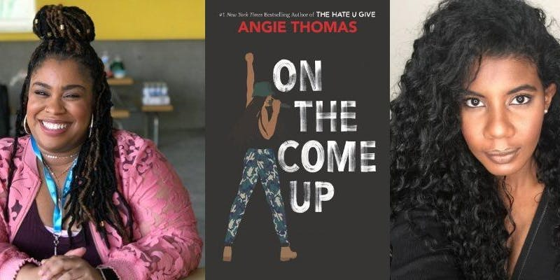Headshot of Angie Thomas on the left with cover of On The Come Up in the middle and Nic Stone on the Right