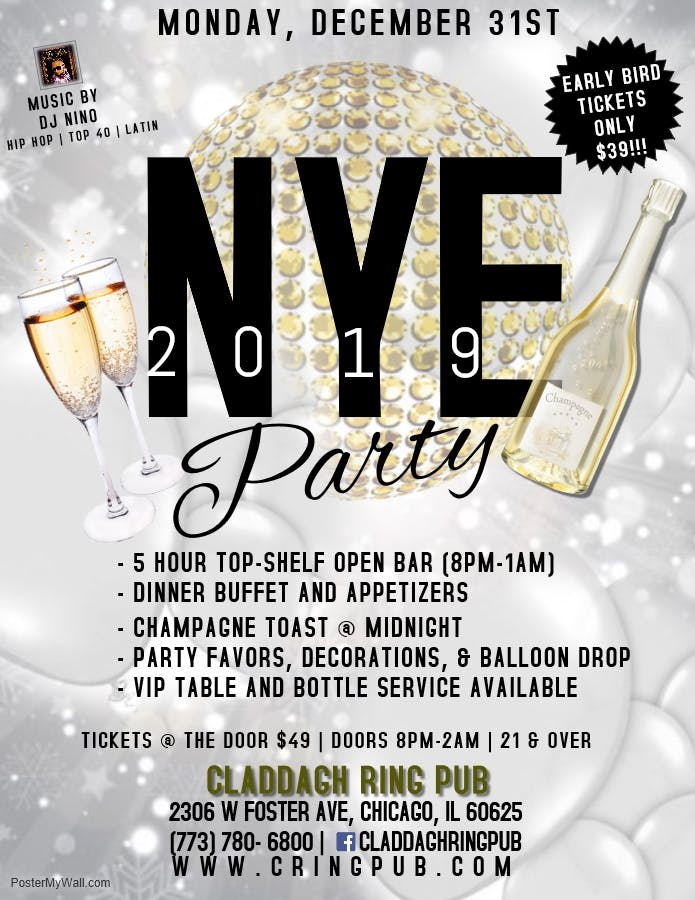 NYE 2019 Party @ Claddagh Ring Pub Chicago