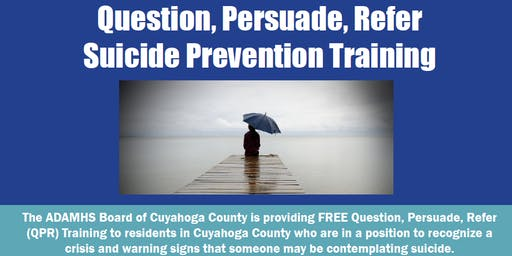 Free Question, Persuade, Refer (QPR) Suicide Prevention Training: August 27
