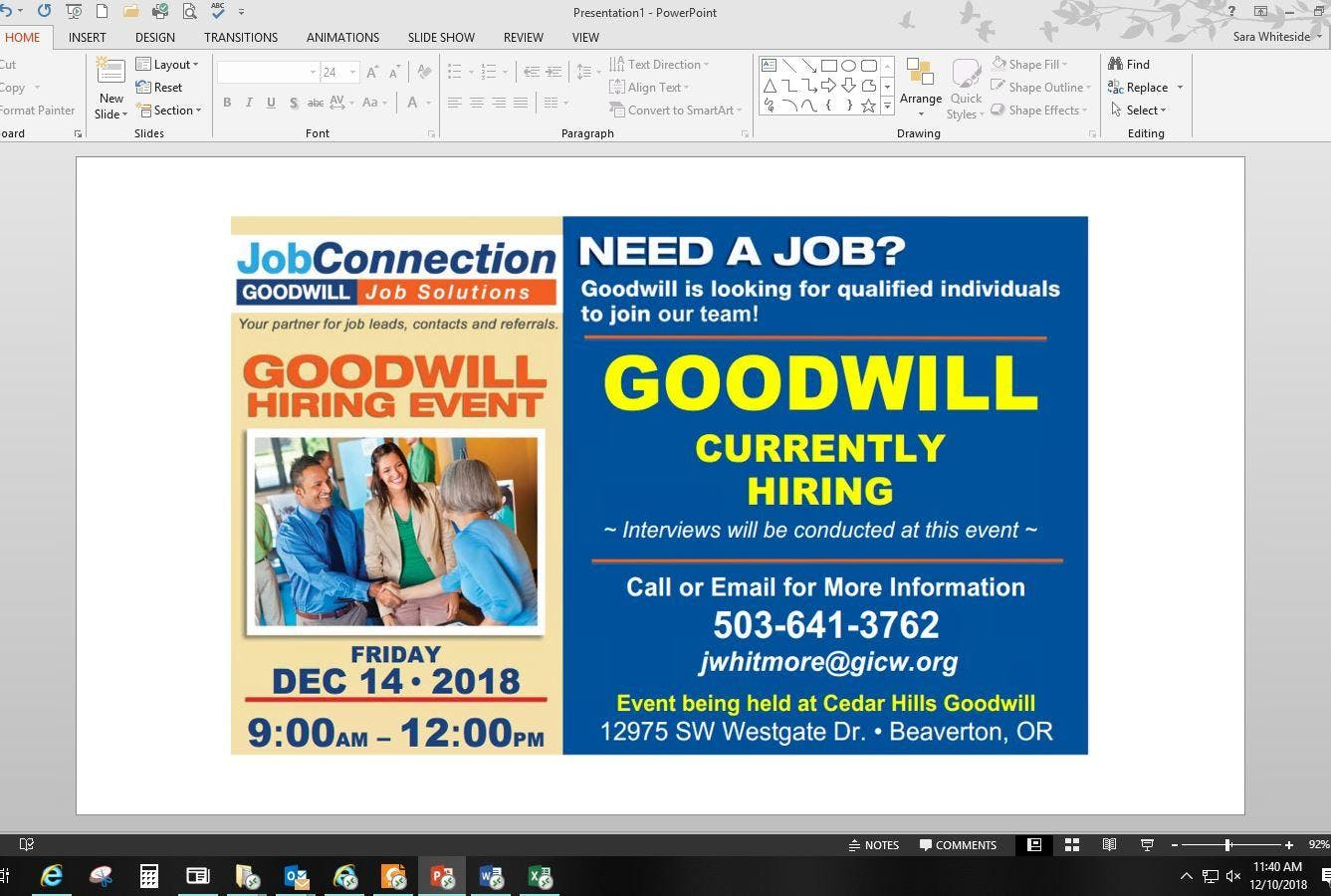 Goodwill is Hiring! Beaverton - 12/14/18