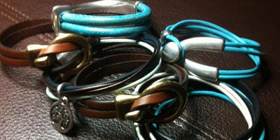 Euro Leather Bracelet with Art Night Out