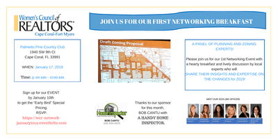 Women's Council of Realtors Cape Coral-Fort Myers Networking Breakfast:  Changes….From Codes to Land Use What is coming in 2019