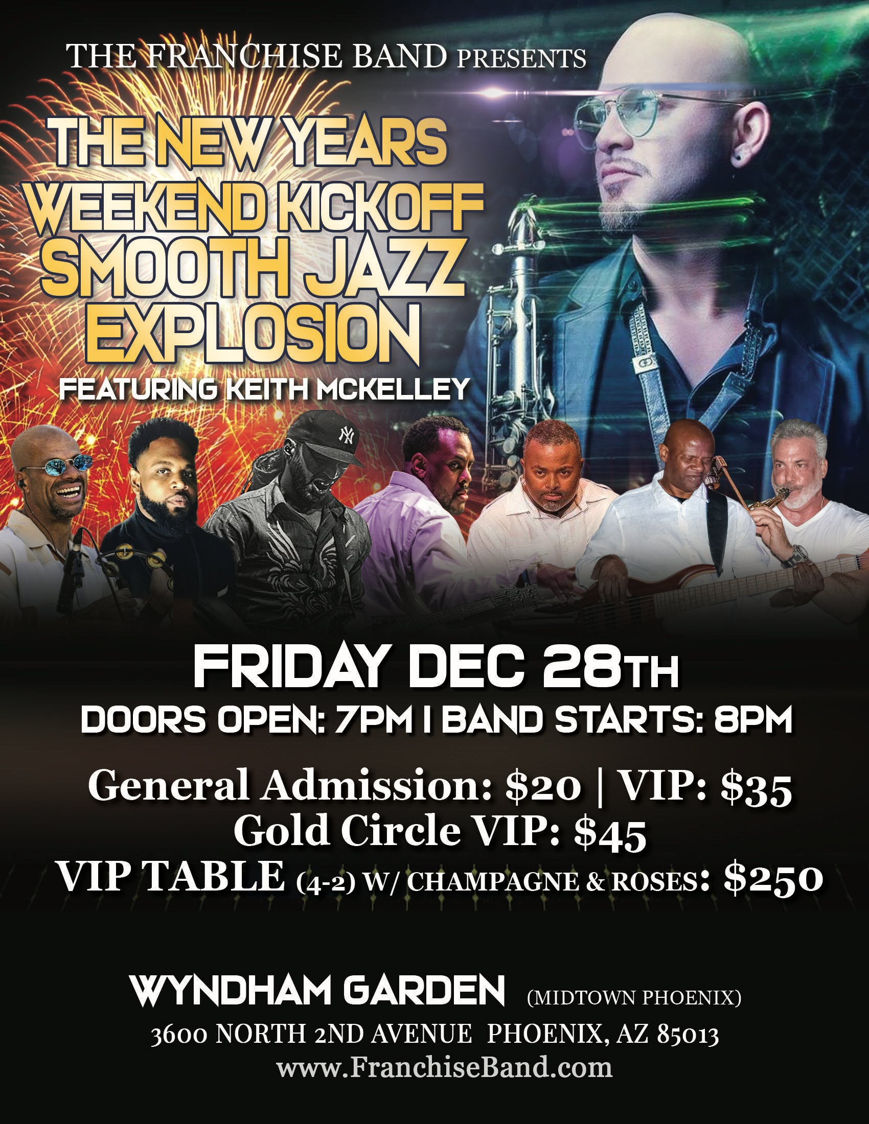 The Franchise Band's New Years Kickoff Featuring Keith Mckelley on Sax!