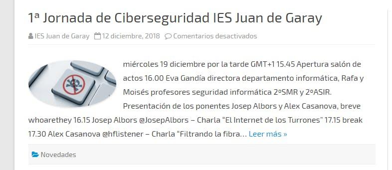 Primera Jornada de Ciberseguridad IES Juan de