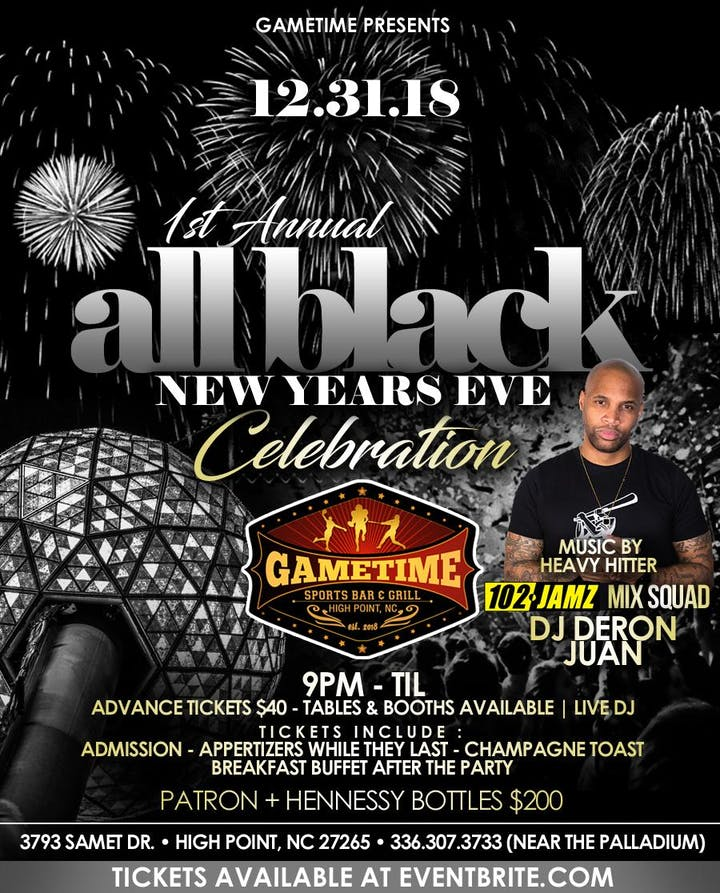 gametime sports bar grill 1st annual new years eve all black