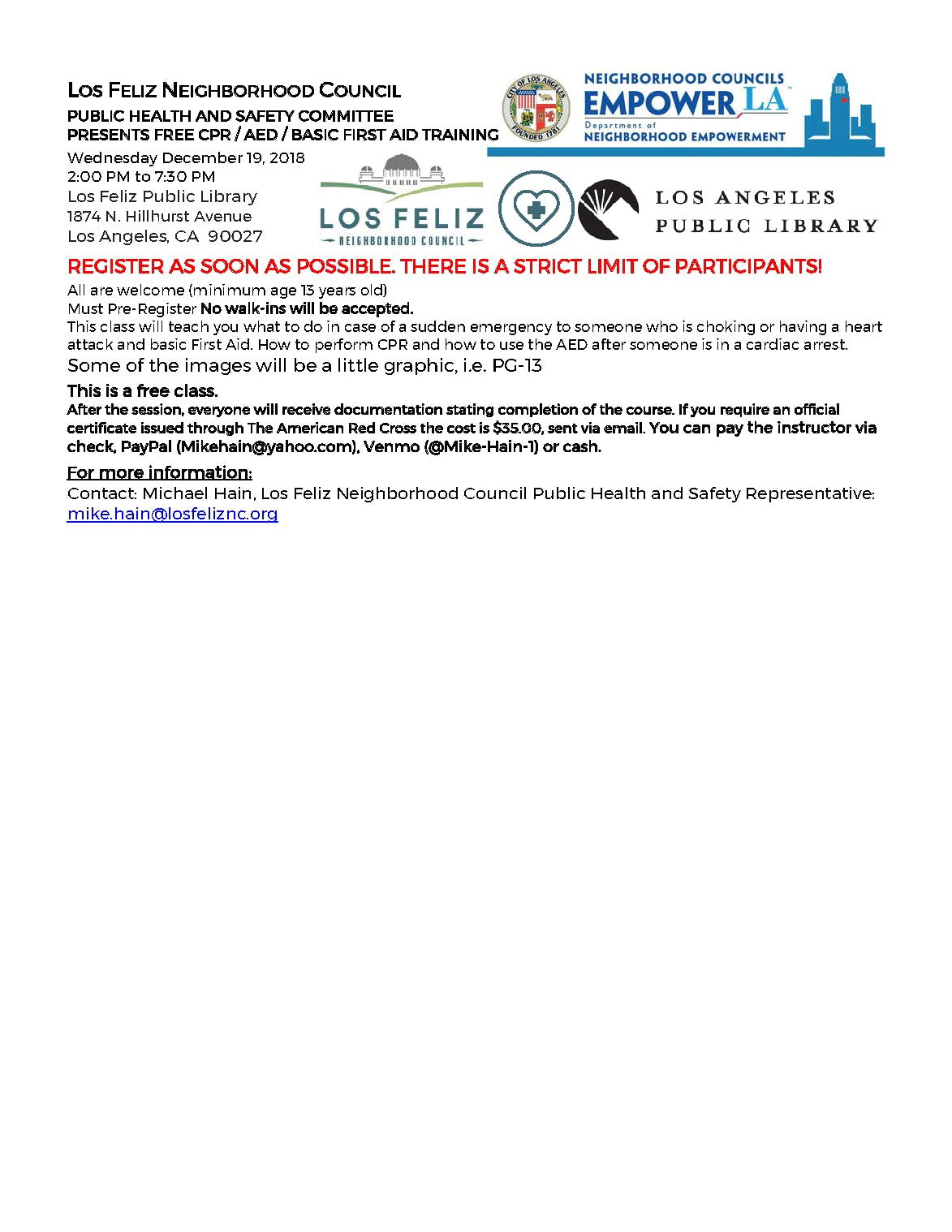 Free Cpr Class Sponsored By The Los Feliz Neighborhood Council