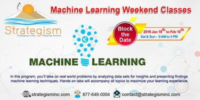 Machine learning Live weekend online Training for san Diego-Jan 19th to Feb 10th,2019