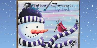 Snowman & Cardinal Canvas Paint Night