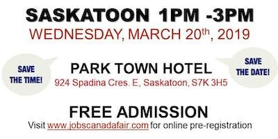 FREE: Saskatoon Job Fair – March 20th, 2019