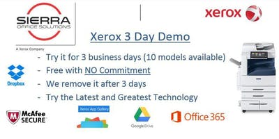 3 Day Free Demo for Xerox Products at your office