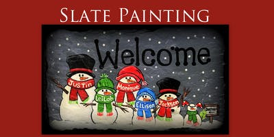 Paint a Personalized Snowman Family on Slate