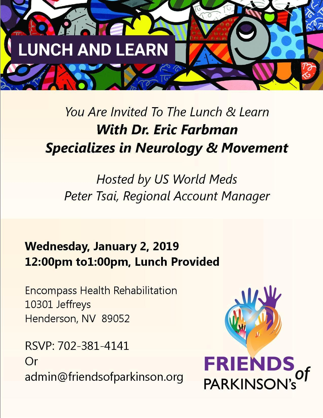 Lunch and Learn with Dr Farbman - 2 JAN 2019