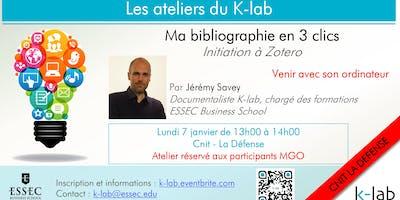 Les Ateliers du K-lab, La Défense, Ma bibliographie en 3 clics : initation à Zotero