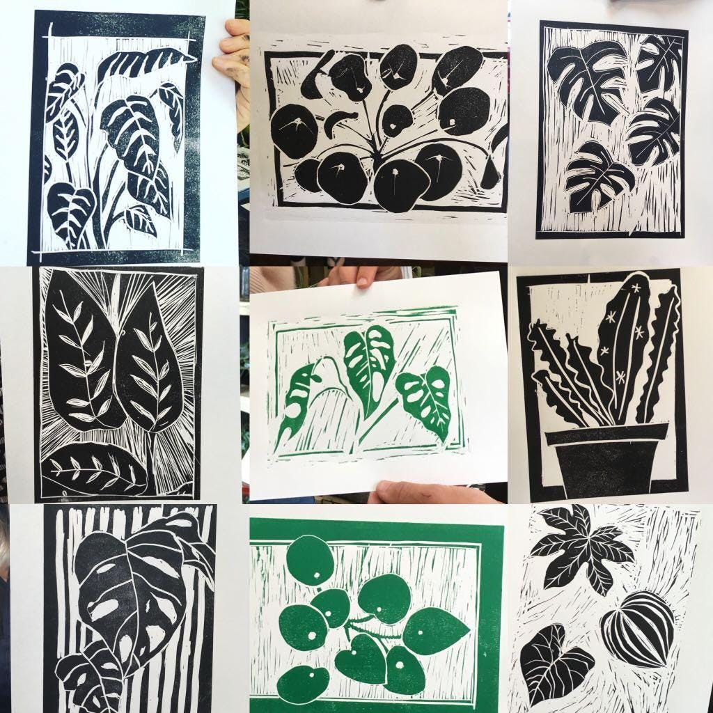 Drawing, Lino cutting and printing of your ve