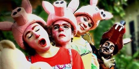 """Desconto! Espetáculo """"Os Três Porquinhos - O Retorno do Lobo Mau"""", no Teatro Dr. Botica ingressos"""