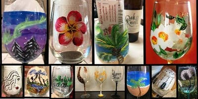 Wine Glass Painting Class at Oak Knoll Winery