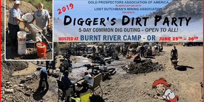 2019 Digger's Dirt Party: 5-Day Common GOLD Dig Outing at Burnt River