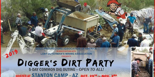 2019 Digger's Dirt Party: 5-Day Common GOLD Dig Outing at Stanton