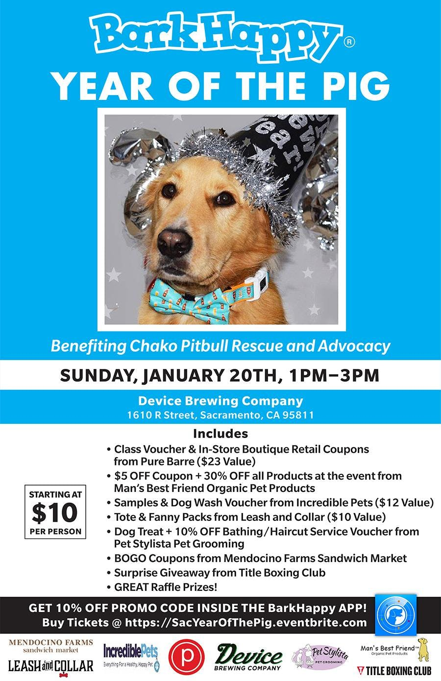 BarkHappy Sacramento: Year of the Pig Pawty Benefiting Chako Pitbull Rescue and Advocacy!