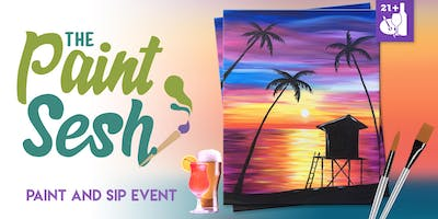 "Paint night in Riverside, CA – ""Paradise Beach"" with The Paint Sesh"