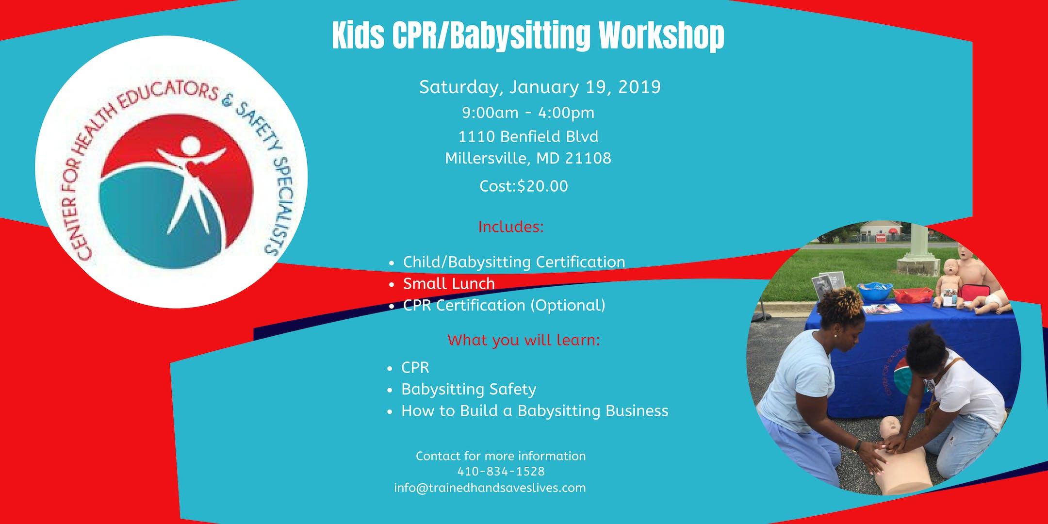 Kids Cprbabysitting Workshop 19 Jan 2019