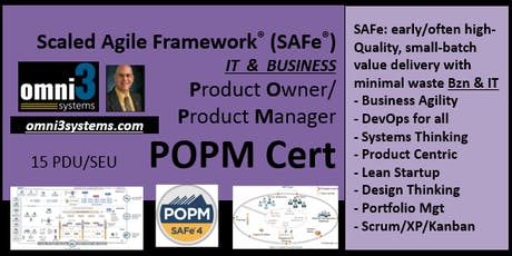 POPM_SAFe-Product Owner/Prod Mgr [POPM-v4.6Cert], BLM/Normal,15PDUs tickets