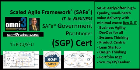 ~SGP- SAFe Government Practitioner [SGP] St Louis,15 PDUs~ tickets