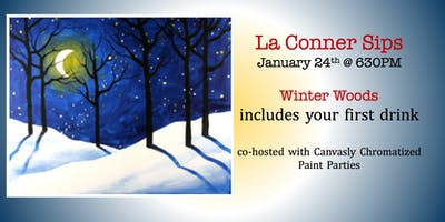 La Conner Sips Paint&Sip: Winter Woods