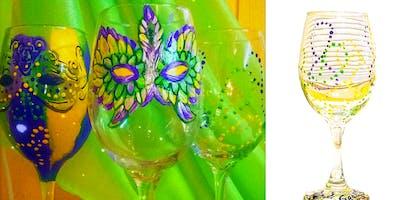 Mardi Gras Mask Painted Wine Glasses