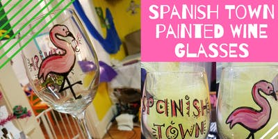 Mardi Gras Painted Wine Glasses - Spanish Town set