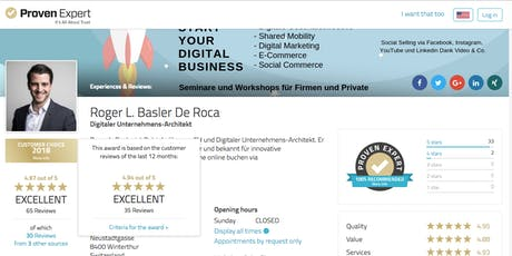 Coaching: Social Media - E-Commerce - SEO - Personalbrand - Digitalisierung Tickets